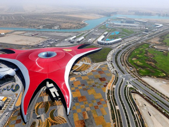 abu dhabi ferrari world aerial shot